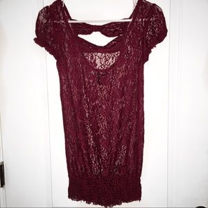 Vanity red lace blouse
